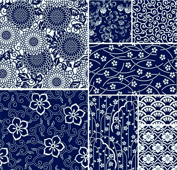 8 Navy Blue & White Floral Patterns Set white web vector unique ui elements stylish small print seamless repeatable quality pattern original new navy interface illustrator high quality hi-res HD graphic fresh free download free floral pattern set floral eps elements download detailed design creative blue