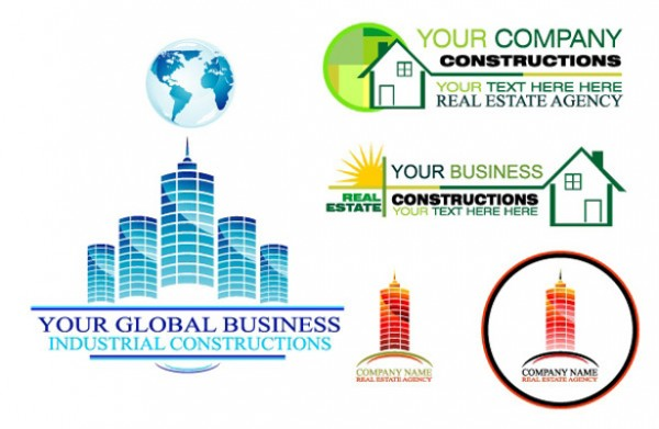 Construction Business Real Estate Logos vectors vector graphic vector unique stock quality photoshop pack original modern marketing logo industrial illustrator illustration high quality globe global fresh. real estate free vectors free download free download creative company business ai