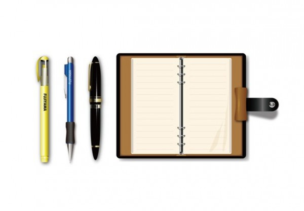Realistic Notebook Pens Office Vector Elements web vector unique ui elements stylish stationary realistic quality pens pencil original office supplies office notebook new interface illustrator high quality hi-res HD graphic fresh free download free elements download detailed design creative