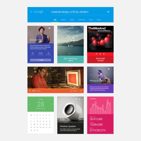 Ultralinx Material Design UI Kit weather ultralinx ui kit ui player mobile app material design image slider header apps
