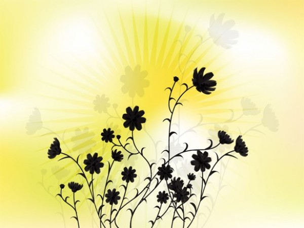 Radiant Yellow Floral Silhouette Vector Background yellow web vector unique ui elements sun stylish silhouettes rays radiant quality pdf original new interface illustrator high quality hi-res HD graphic glowing fresh free download free flowers floral silhouettes floral elements download detailed design creative bright background ai