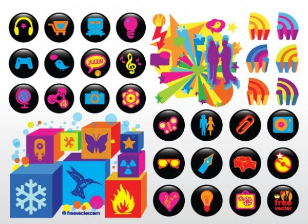 24 Neon on Black Round Icons Set PNG web vector unique ui elements symbols stylish stars silhouettes set round quality original new neon interface illustrator icons humming bird high quality hi-res HD graphic fresh free download free elements download detailed design cubes creative butterfly black ai