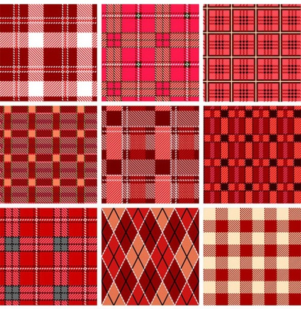 9 Red Checkered Plaid Vector Patterns woven web vintage vector unique ultimate stylish Scottish retro red plaid red quality plaid pack original new kitchen interface illustrator high quality high detail graphic gingham fresh free download free download detailed design creative cloth checkered checked