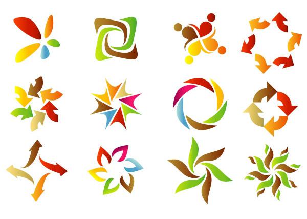 12 Colorful Circle Shape Logo Designs Set vector swirls pinwheel logotypes logos logo free download free floral colorful circles arrows