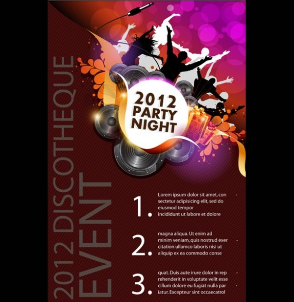 2012 Disco Party Night Poster Vector Template web vector unique ui elements stylish silhouettes quality poster party poster party original night new illustrator high quality hi-res HD graphic fresh free download free download discotheque design dancing dance creative 2012