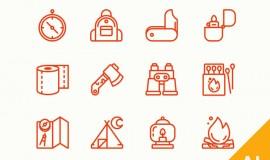 12 Mini Vector Camping Icons Set 139