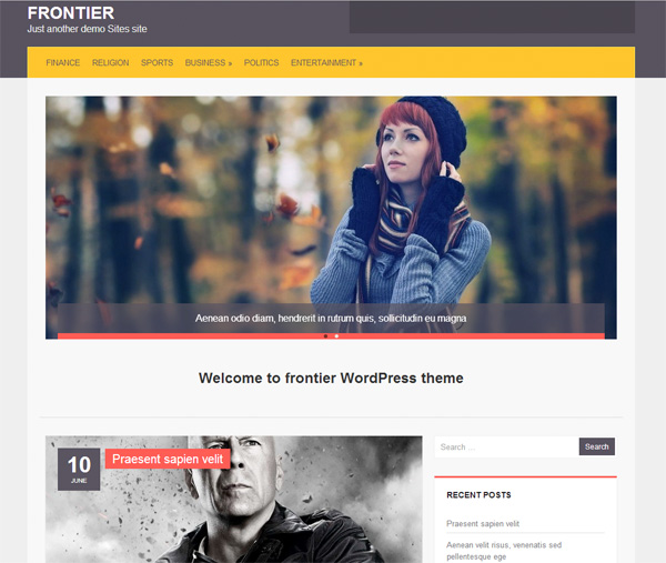Frontier WordPress WP Website Template wp wordpress website webpage web unique ui elements ui theme stylish side menu quality posts php original new modern minimal interface image slider html hi-res HD Frontier fresh free download free elements download detailed design css creative clean 2 column