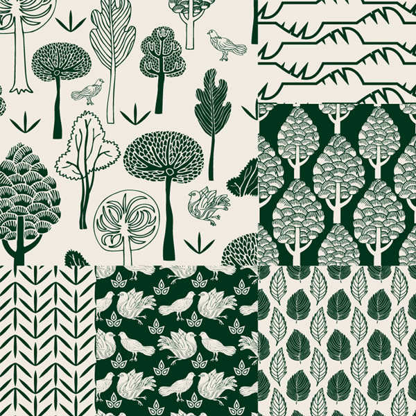 Hand Painted Nature Pattern Backgrounds Set web vector unique ui elements trees stylish set seamless quality pattern original new nature pattern nature background leaves interface illustrator high quality hi-res HD hand painted hand drawn graphic fresh free download free eps elements download detailed design creative birds background artwork art abstract trees