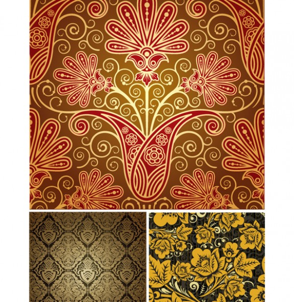 3 Ornamental Floral Pattern royal psd source files photoshop resources patterns luxury luxary golden glowing free vectors free patterns free backgrounds florish floral eps cdr beautiful backgrounds ai
