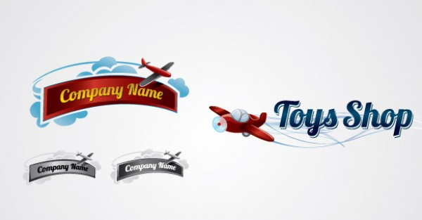 2 Toy Plane Logo Collection vector toys toy template store shop red plane photoshop logo collection logo kid high quality funny free vector free logo eps crisp child cc business black and white attractive airplanes ai