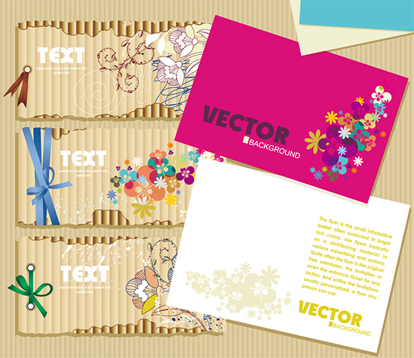 5 Decorative Floral Gift Cards Vector Set vector set greeting cards gift cards free download free flowers floral cards decorative cards