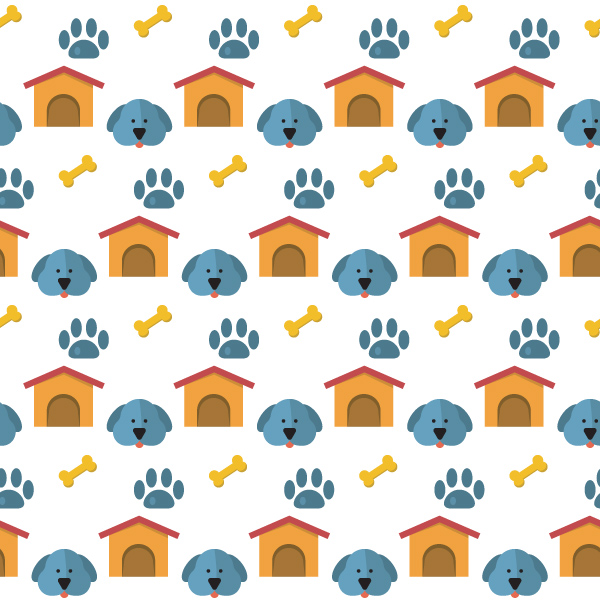 Dog House Paw Print Vector Pattern seamless print paws pattern doghouse dog background