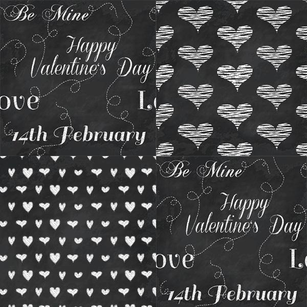 8 Valentines Seamless Chalkboard Patterns Set valentines ui elements ui set seamless pattern love hearts free download free chalkboard