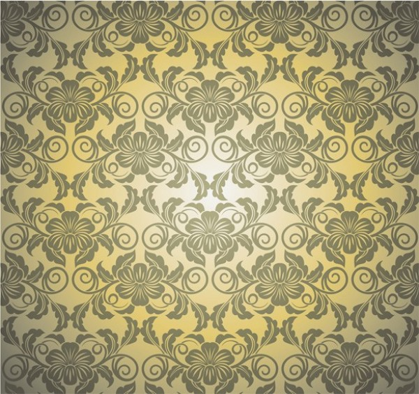 Vintage Green Gold Floral Vector Pattern wallpaper vintage vector unique stylish retro quality pattern ornate original modern leaves illustrator high quality graphic free download free floral download creative background