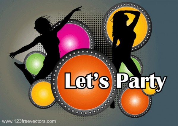 Let's Party Music Vector Poster web vector unique ui elements stylish silhouettes quality poster original new music lights let's party poster interface illustrator high quality hi-res HD halftone graphic girl silhouette fresh free download free elements download detailed design dancer silhouette dancer creative colorful circles