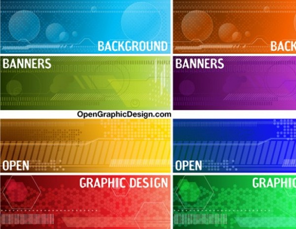 Colorful Tech Banners Vector Elements web vector unique ui elements technology tech stylish quality original new modern interface illustrator high quality hi-res header HD graphic futuristic fresh free download free elements download detailed design creative banners background