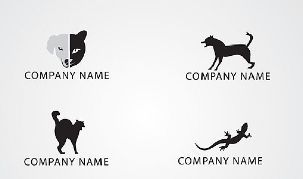 4 Animal Silhouette logo pack vectors silhouette reptile quality grey free vectors free downloads dog contrast cat black white black