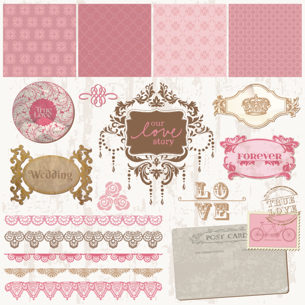 Vintage Wedding Theme Vector Elements Pack wedding vector stamps set pink marriage love quotes labels invitation free frames card banners background