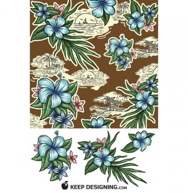 Beautiful Tropics Floral Seamless Pattern PSD web vector unique ui elements tropics tropical stylish seamless quality psd palms original new layered island interface illustrator high resolution high quality hi-res HD Hawaii hand drawn graphic fresh free download free flowers floral elements download detailed design creative blue
