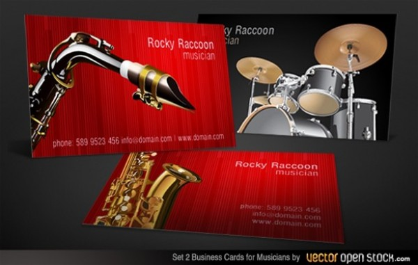 2 Musicians Business Card Drums Sax Set web vector unique ui elements template stylish set saxophone quality player original new musician interface illustrator high quality hi-res HD graphic fresh free download free elements drums drummer download detailed design creative card business card ai