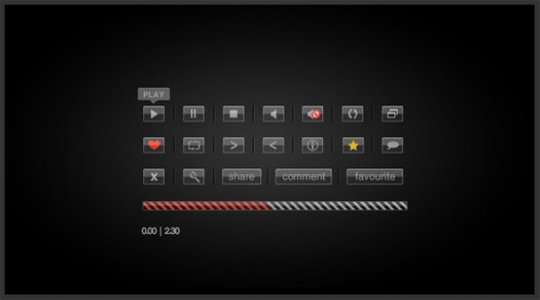 Sleek Glass Video Playback Buttons PSD web video player buttons video player video playback unique ui elements ui stylish simple quality original new modern interface hi-res HD glassy buttons glass fresh free download free elements download detailed design creative clean buttons black video player buttons black
