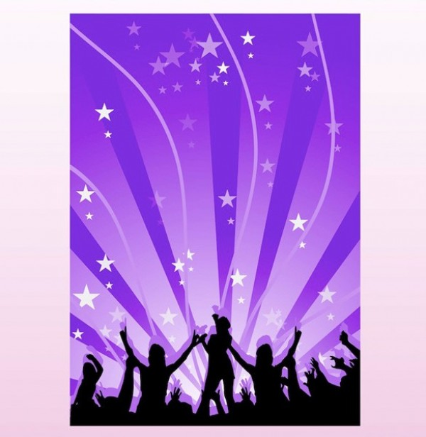 Dancing Music Silhouette Vector Poster Background web vector unique ui elements stylish stars silhouettes rays quality purple poster people party poster party original new music poster music interface illustrator high quality hi-res HD graphic fresh free download free elements download detailed design dancing creative background ai abstract