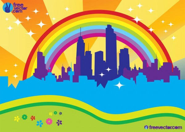 City Skyline Rainbow Background vectors vector graphic vector unique sun skyscrapers skyline rainbow quality photoshop pack original modern illustrator illustration high quality fresh free vectors free download free download creative city background ai