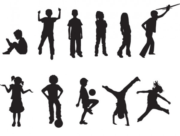 15 Playing Children Silhouette Vectors web vectors vector graphic vector unique ultimate silhouettes quality playing Play photoshop pack original new modern jumping illustrator illustration high quality fresh free vectors free download free download design creative children child balloons ai