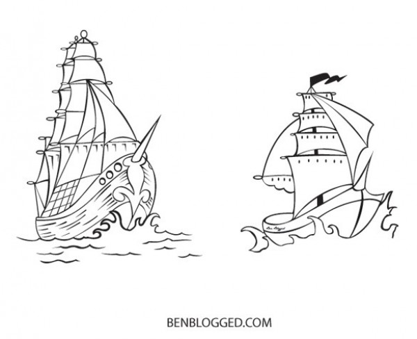 2 Sketched Pirate Ships Vector Set web vintage vector unique ui elements tattoo stylish sketched ship set schooner sailing ship quality pirate ship pirate original new interface Illustrator 8 illustrator high quality hi-res HD hand drawn graphic fresh free download free eps elements download detailed design CS2 creative boat