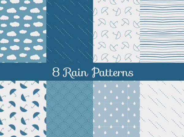8 Seamless Rain Theme Vector Patterns umbrella seamless raindrops rain pattern blue