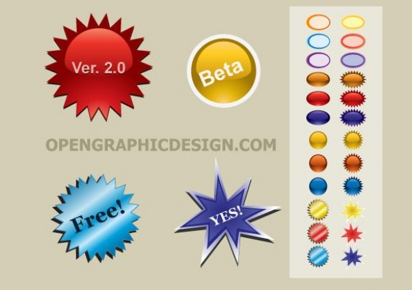 Colorful Bursts Vector Stickers and Buttons web vector unique ui elements stylish stickers star bursts shapes quality original new labels interface illustrator icons high quality hi-res HD graphic fresh free download free elements download detailed design creative colorful bursts