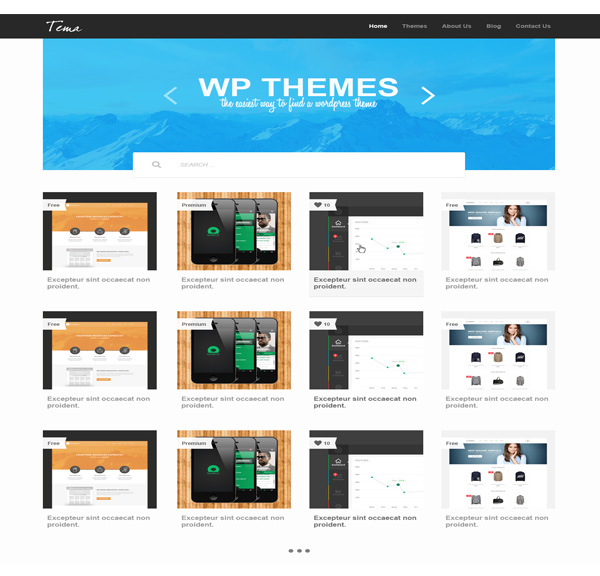 Gallery Theme PSD Website Template ui elements ui template showcase psd website navigation bar mockup image slider gallery free download free