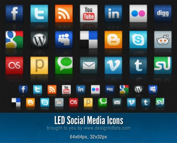 LED Social Media Web Icons Pack web unique ultimate textured stylish social icons simple set quality pack original new modern led icons led icons hi-res fresh free download free download design creative clean