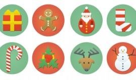 8 Flat Colorful Christmas Icons Set