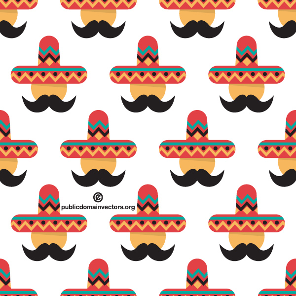 Mexican Man Colorful Sombrero Pattern sombrero pattern mustache mexican man hat colorful