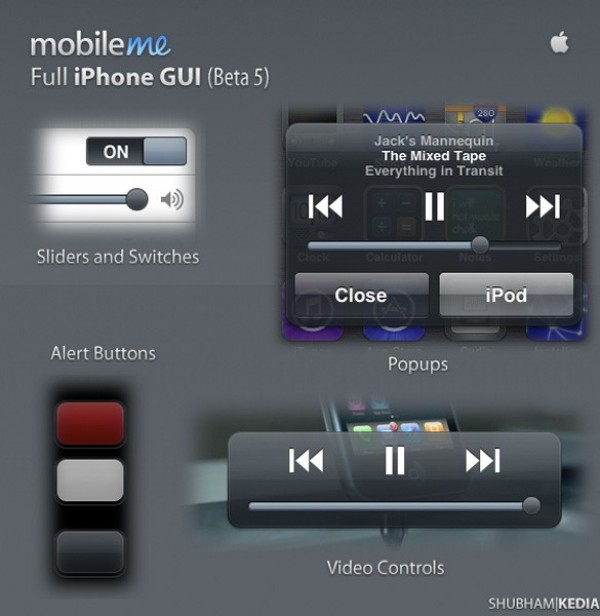 MobileMe Full iPhone GUI in PSD web video controls unique ui elements ui stylish sliders simple quality popups original new modern mobileme gui iPhone gui iphone interface hi-res HD fresh free download free elements download detailed design creative clean buttons app