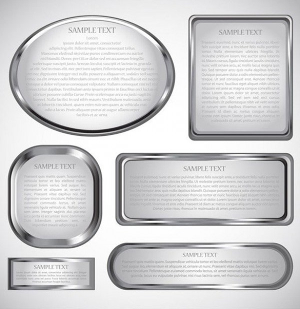 6 Shiny Metal Frames Vector Set web vector unique ui elements stylish shiny quality oval original new metal frame metal interface illustrator high quality hi-res HD graphic fresh free download free frames elements download detailed design creative beveled background