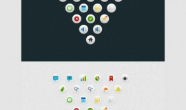 21 Round Clean Simple Icons Set PSD
