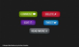 5 Attractive Colorful Web UI Buttons Set PSD