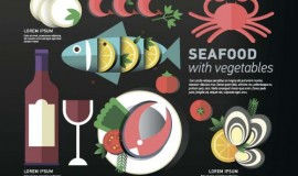 Seafood with vegetable vector material 04