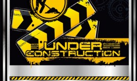 Construction warning sign vectors background 02