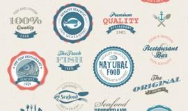 Vintage seafood labels vector set 35483