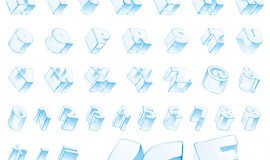 Ice alphabet and number vector material 05