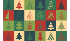Christmas tree flat vector icons