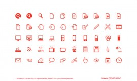 Red outline web icons