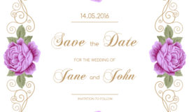 Vintage flower with wedding invitation vector 10