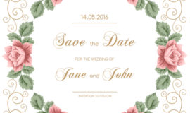 Vintage flower with wedding invitation vector 06