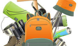 Camping with backpack vector