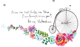 Watercolor flower wedding invitation vector graphics 02