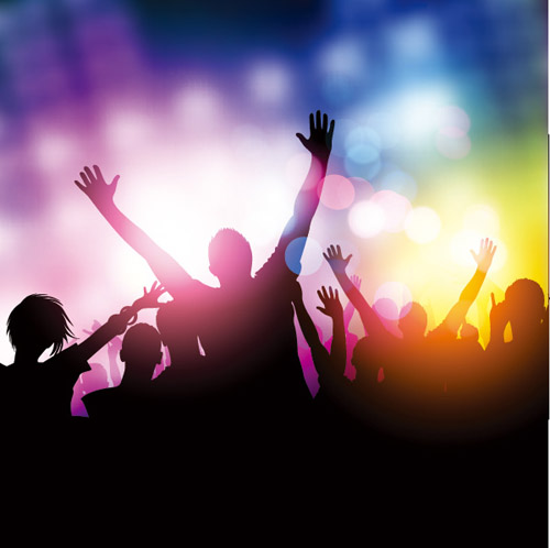 People silhouettes and party backgrounds vector 03 silhouettes people background